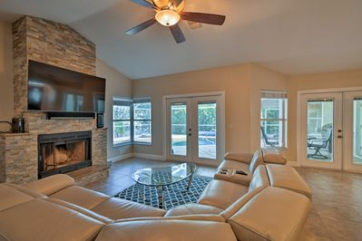 Unwind in the comfortably furnished living room.