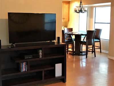 60' Smart TV available for your viewing.