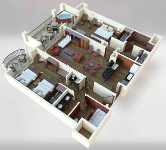 Entire 2-bedroom Villa Floor Plan - with one bed shown down in the livingroom!
