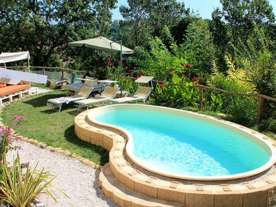 Photo for 5-bedroom holiday apartment: nature, swimming pool, relax 30 mins from the beach