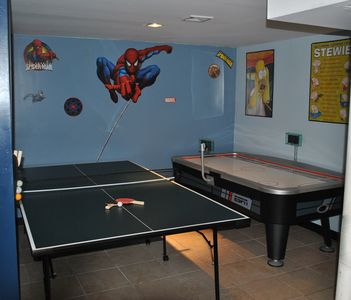 Ping pong table and espn air hockey table with MP3 dock with built in speakers!