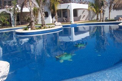 Our pool in Mi Casa del Mar is one of a kind with beautiful inlaid tile work.