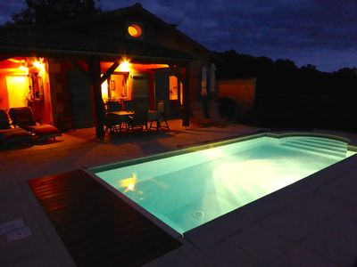 Illuminated and heated pool