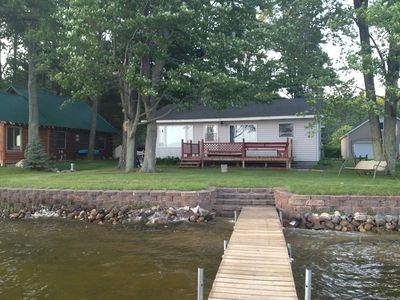 lakeside view of the cabin from the dock