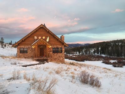 Photo for Rustic Log Cabin tucked away in the mountains