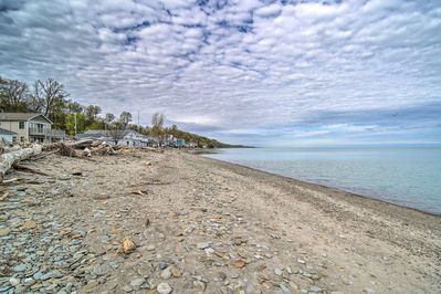 This vacation rental boasts on-site access to Lake Erie.