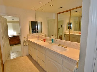Large master bathroom with upscale features