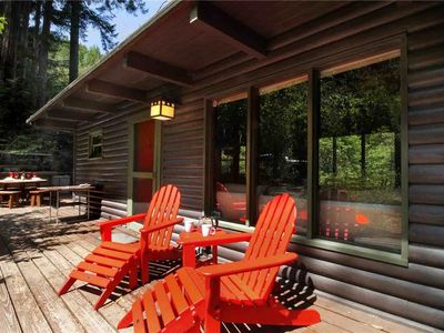 Photo for TREETOP LOG CABIN: Guerneville Getaway | Redwoods | Hot Tub | Woodstove