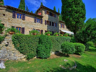 Photo for Private Villa with private pool, hot tub, WIFI, TV, panoramic view, close to Greve In Chianti