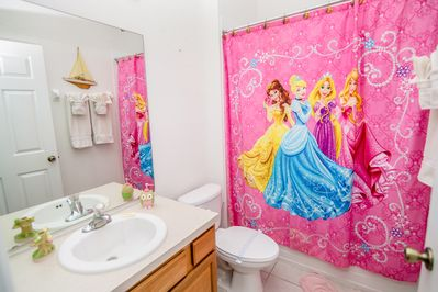 Attached Princess themed bathroom - tub/shower combo