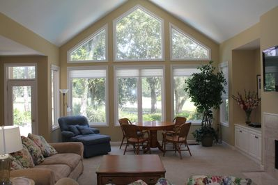 Family room with beautiful view of Fazio golf course