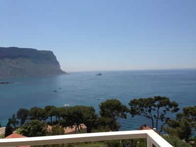 Photo for Beautiful T2, panoramic sea view terrace, private parking, 2 steps from the beach