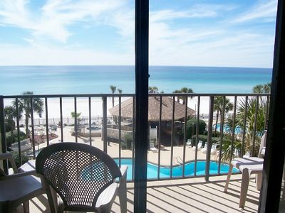 From third floor, you can see pool area, beach &  emerald water.