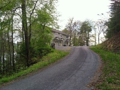Driving up to the Parson Shores Lodge.
