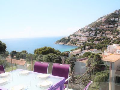 Photo for Luxury villa by sea view 5 minutes walk from the creek Canyelles platge