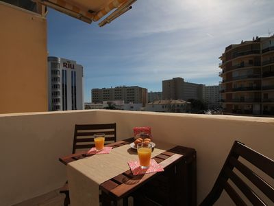 Photo for Modern apartment 2 min from the beach + pool + WIFI + Sofa bed + terrace