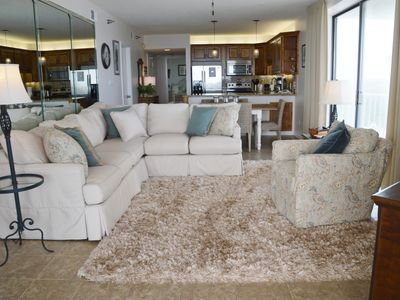Relax in this spacious comfortable living area with fabulous views of the Gulf!