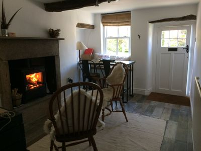 Our cosy living room with log burner