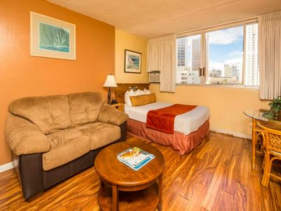 Photo for Perfect Perks! New Kitchenette w/Frig, Dining Table, WiFi, AC, TV–Waikiki Grand 804