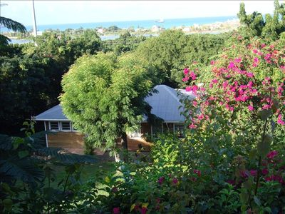 Early Morning View of the Cottage and the Caribbean Sea