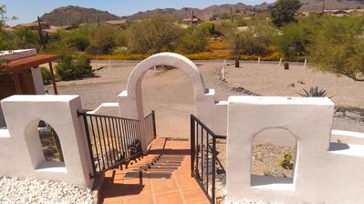 The view down the front porch arches