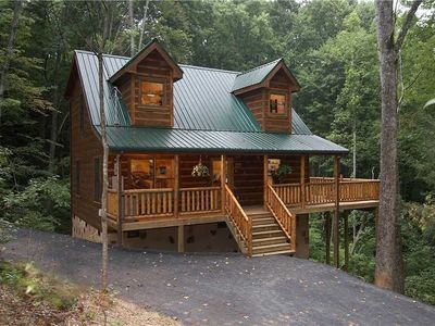 Photo for SEASONS OF THE HEART | Private Forested Serenity | Game Room | Hot Tub | Wifi | Great Location