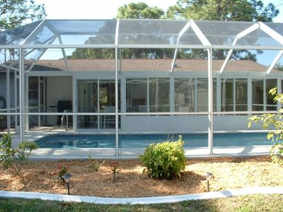 Back of house with Screened Pool, Sunroom, BBQ Grill