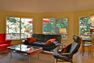 Large, wrap-around windows give you a birds eye view of your vacation setting.
