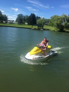 Jet Skiing off our dock.