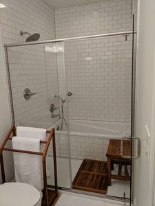 Spa style bathroom with walk in enclosed rain shower and soaking tub.