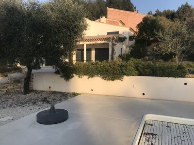 Photo for Modern villa, quiet, swimming pool, bowling, terraces, parking