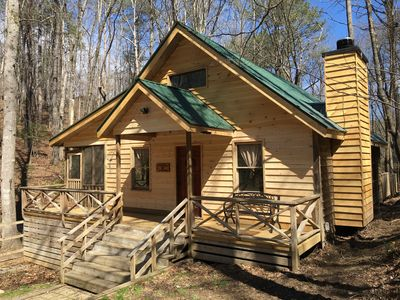 Photo for Peaceful Private Cabin, Hot Tub, Fire Place & Dogs Welcome!