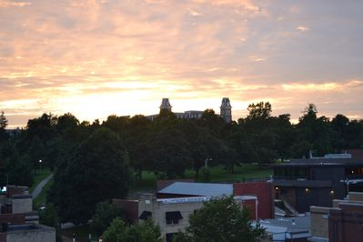 View from patio of Old Main