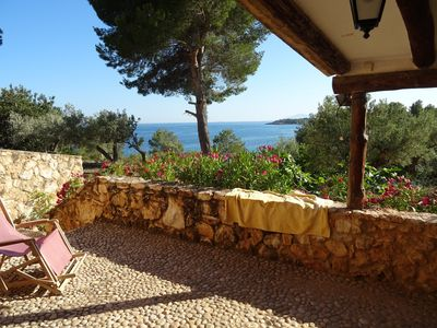 Photo for VILLA 'FEET IN THE WATER' STUNNING VIEW ON THE COAST AT 4KM FROM A TYPICAL VILLAGE