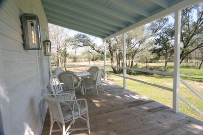 Back porch with eating area