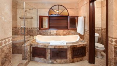 Beautiful spa-like bathroom! Includes bath, tiles shower, 2 sink vanity.