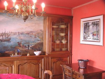 Dining Room with hand painted oil picture