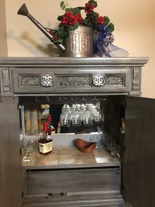 bar with wine and old fashioned glasses