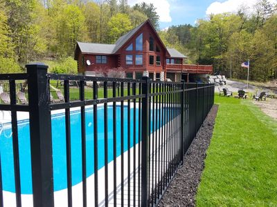 Gorgeous log home with many amenities. Weather permitting, pool opens 5/24.