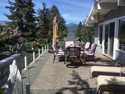 Lovely deck overlooking lake and mountains, large umbrella for shade if needed.