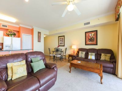 Photo for Spacious gulf-front condo! Free beach service! Two lagoon pools + movie center on-site!