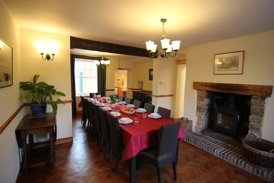 Dining room with wood-burning stove