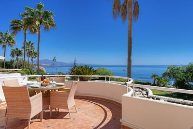 Terrace dining - with fantastic views to Estepona