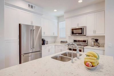 New kitchen with quartz counters, 2018 stainless steal kitchen aid appliances