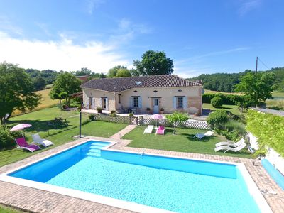 Photo for Beautiful Stone house with  heated pool, superb views, air con near Lauzerte