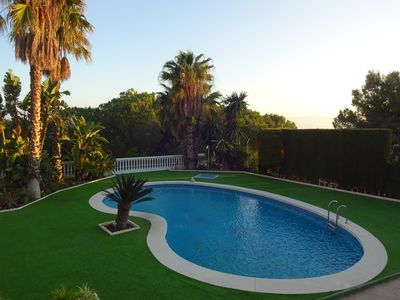 Photo for A luxury villa with class interior,WIFI,TV,Aircon,large pool,near coast,golf