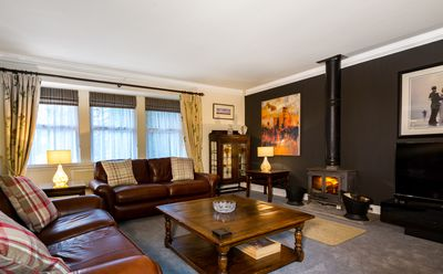The cosy, spacious living room at Craigton Smiddy