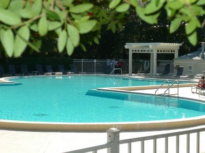 The big pool is just steps from the cottage  -- jacuzzi too!