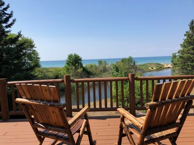 Cecil Bay Home on Carp River with Lake Michigan view