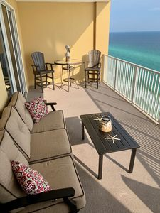Comfy sofa on the patio with that awesome Gulf view...bring a book..relax!
